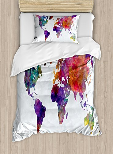 Ambesonne Watercolor Duvet Cover Set Twin Size, Multicolored Hand Drawn World Map Asia Europe Africa America Geography Print, Decorative 2 Piece Bedding Set with 1 Pillow Sham, Multicolor by Ambesonne