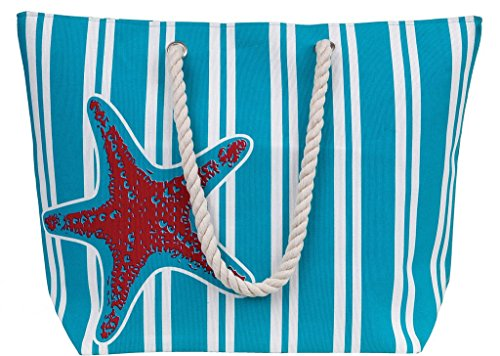 X-Large Water Resistant Canvas Beach Tote Bag - Inside Lining, Zippered Inner Pocket, Fun Fashion Colors (Blue/Pink Starfish-G)