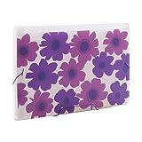 Comix Summer Flowers Pattern 13 Pockets Expanding File, A4 & Letter Size, Purple (A1361)