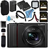 Panasonic Lumix DC-ZS200 DC-ZS200S Digital Camera (Silver) + DMW-BLG10 Lithium Ion Battery + External Rapid Charger + 32GB SDHC Card + 128GB SDXC Card + Small Carrying Case + LED Light Bundle