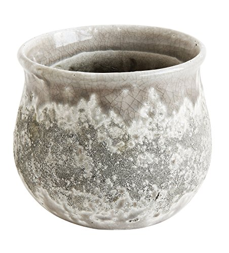 Creative Co-op Distressed Grey Round Terracotta Planter