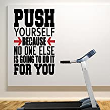 Push Yourself wall decal sticker for home and gym Black
