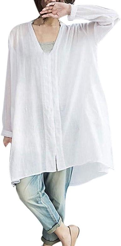 Blusa Elegante para Mujer Blusa Larga Manga Larga con Cuello Ropa En V Camisa Larga para Mujer Camisa Informal Grande Y Suelta Blusa Casual Asimétrica Blusa: Amazon.es: Ropa y accesorios