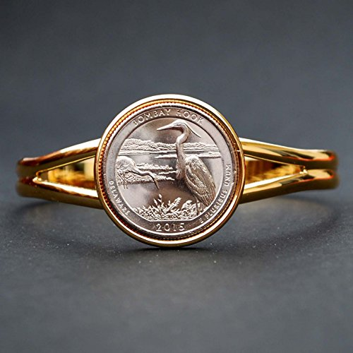 Bracelets Coin Hook (US 2015 Delaware Bombay Hook National Wildlife Refuge Quarter BU Unc Coin Gold Plated Cuff Bracelet - Beautiful)