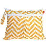 cloth diaper wet bag small - Damero New Cute Travel Baby Wet and Dry Cloth Diaper Organizer Bag, Yellow Chevron