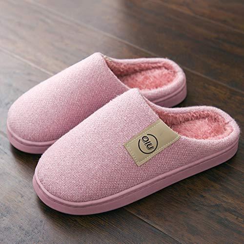 Pantoffeln pink größe Farbe Dark Hausschuhe Home Boden 37 Pink Winter Weibliche Modelle Light Baumwoll AMINSHAP Hausschuhe Schweren warme Paket mit 38EU Plüsch rqFfrwa
