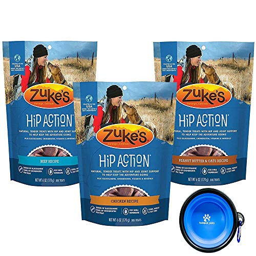 Zuke's Mini All Natural Hip Action with Glucosamine and Chondroitin - 3 Pack - Beef, Peanut Butter, Chicken (18 oz) Total with HSP Pet - Action Zukes Hip Treats Dog