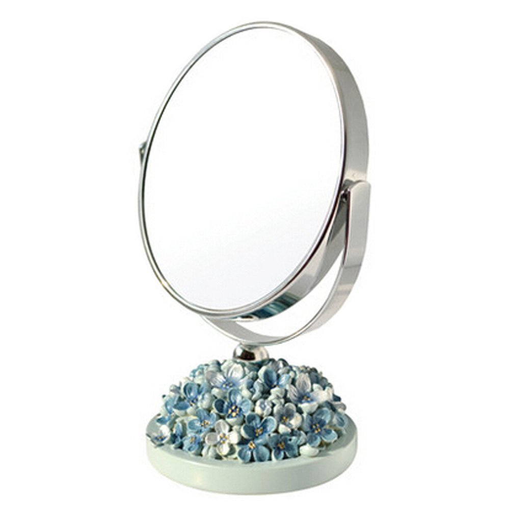 Continental Make-up Mirror 5-Inch Tabletop Two-Sided Cosmetic Mirror Blue Blancho Bedding