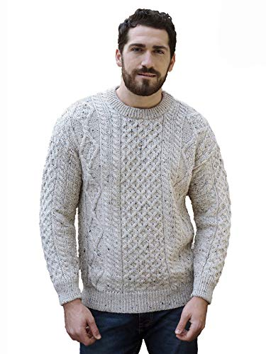 Aran Crafts Traditional Aran Crew Neck Sweater LG Skiddaw (C1347-LG-SKI)