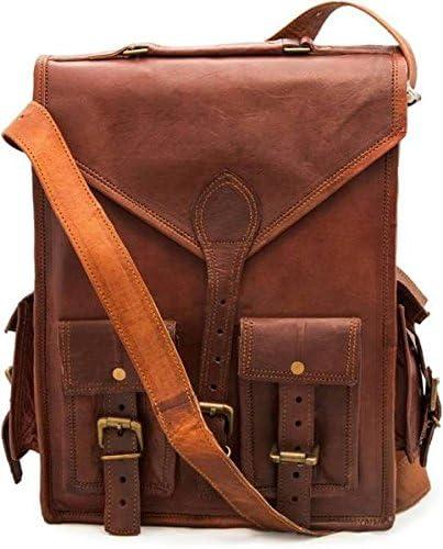 TUZECH Durable Pure Leather Vintage Messenger Satchel Stylish Bag Fits 11 Inches Laptops