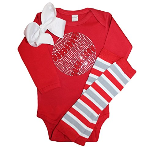 Rhinestone baby girl baseball red outfit with striped leg warmers & white bow (Cincinnati Reds Striped Shirt)