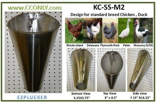 M2 Stainless Steel Chicken / Poultry Processing Restraining Killing Funnels Cones by EZPLUCKER (Image #2)