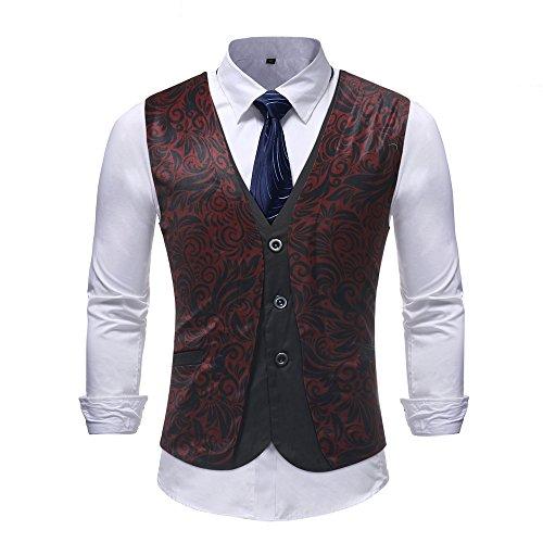 Single M16 (MYMSTORM Mens Suit Vest Dress Vest Waistcoat for Men Single Breasted Floral (XL, M16))