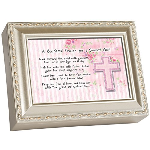 Baptismal Prayer Girl Pink Champagne Silver Finish Jewelry Music Box Plays Jesus Loves Me