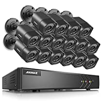 ANNKE Security Camera System 5-in-1 16CH 720P DVR with (16) 720P HD Weatherproof Indoor/Outdoor Cameras with IR-cut Night Vision LEDs, Free APP, Remote Access, 2TB HDD Included