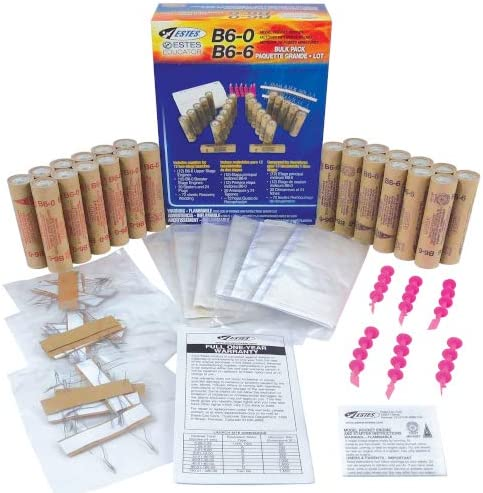 Includes 24 Model Rocket Engines for Two-Stage Rockets United Model B6-0//B6-6 Engine Bulk Pack