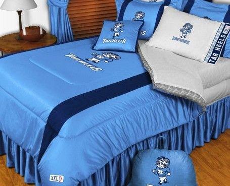 North Carolina Tarheels NCAA Bedding - Sidelines Comforter and Sheet Set Combo - Queen