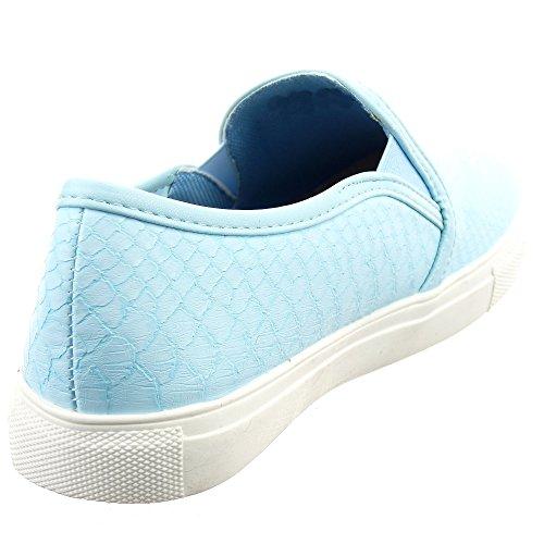Sopily - Scarpe da Moda formatori Slip-On alla caviglia donna Pelle di serpente Tacco a blocco 2.5 CM - Blu
