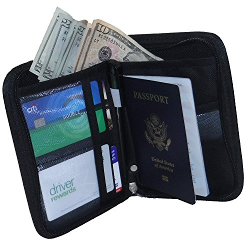 Elaxor™ Cute Multi-Functional Compact Zippered Passport, cards, cash and Travel Document Organizer Wallet Case (Black)