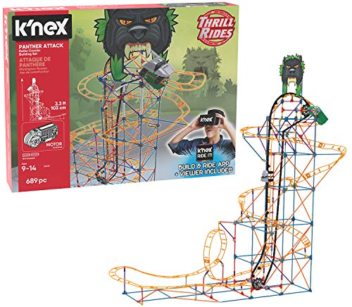 K'NEX Thrill Rides - Panther Attack Roller Coaster Building Set with Ride It! App - 689 Piece - Ages 9+ Building Set]()