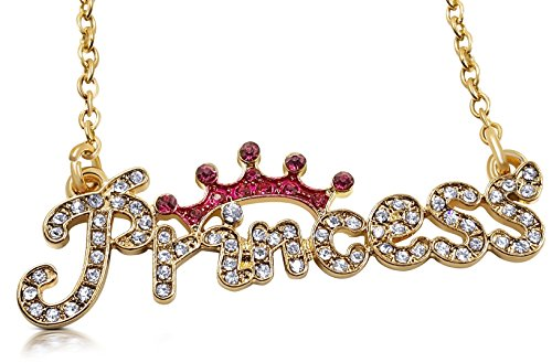 Glamour Girl Gifts Collection Princess Necklace Topped with Pink Crystal Crown Fashion Jewelry (Gold Tone)