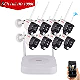 Tonton 1080P Full HD Wireless Security Camera System, 8CH NVR Recorder and 8PCS 1080P 2.0 MP Waterproof Outdoor Indoor Bullet Cameras with PIR Sensor, Audio Record and Clear Night Vision(NO HDD)