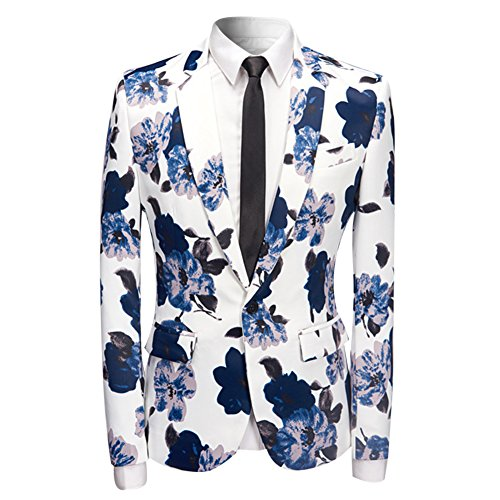 Mens Fashion Slim Fit Suit Jacket Casual Print Shiny One Button Blazer Coat ()