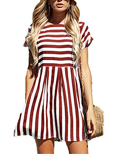 Pocket Dresses for Women,Short Sleeve Stripe Floral Above Knee Length Pleated Swing Dresses,Wine Red,L