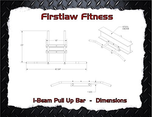 Firstlaw Fitness - 600 LBS Weight Limit - I-Beam Pull Up Bar - Long Bar with Bent Ends WITH Pull Up Assist - Durable Rubber Grips - Black Label - Made in the USA! by Firstlaw Fitness (Image #8)