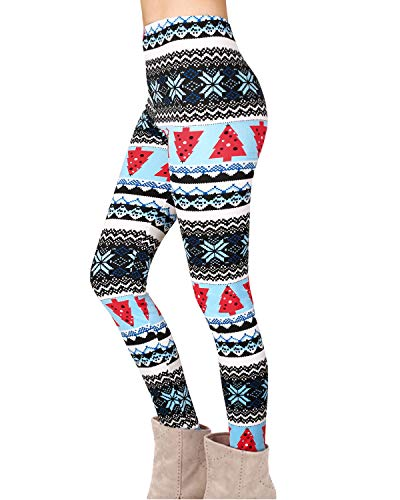 Twotwowin Women Christmas Leggings Workout Footless Yoga Stretchy Pants Casual Printed Funny Costume Tights (Cotton&Polyester 08, X-Large)