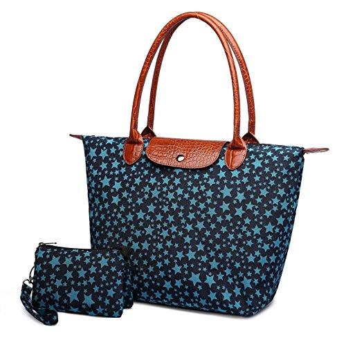Crest Design Women's Stylish Waterproof Nylon Tote Handbag Travel Shoulder Beach Bag with Wristlet (Navy Star) from Crest Design