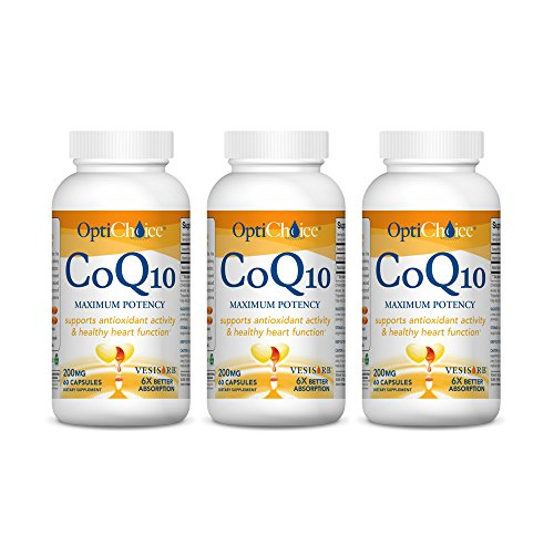 "Optichoice® Coq10 Maximum Potency - Unmatched Dose of Patented Coq10 - The Ultimate ""One Capsule"" Coq10 for Maximum Therapeutic Benefits - Made in USA - 200mg – 60 Capsules/softgels (3 Pack) by OptiChoice"