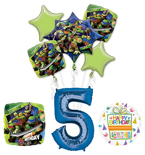 Teenage Mutant Ninja Turtles 5th Birthday Party Supplies and TMNT Balloon Bouquet Decorations -