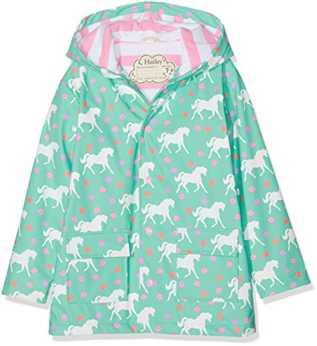 Hatley Girls' Little Printed Raincoats, Color Changing Galloping Horses 2