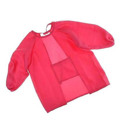 Homyl Niños Pintando Delantal Con Batas Herramientas Manual de Jardin Oficina Hogar - Rosa roja