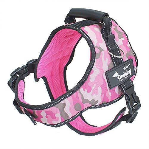 Ondoing Dog No Pull Harness Adjustable Pet Vest Harness Padded Reflective Pink Camo L (Dog Pet Pink Camo)