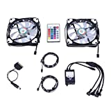 Wigbow 120mm fantastic led Cooling Case Fan with 5050 SMD 2pcs 18 leds 30cm LED Strip Light for PC Computer 2 pack(black)