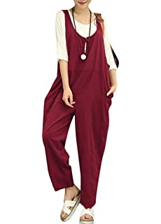 00739da106d9 Romacci Women Cotton Linen Baggy Overalls Jumpsuits Vintage Sleeveless Wide  Leg Pants Rompers