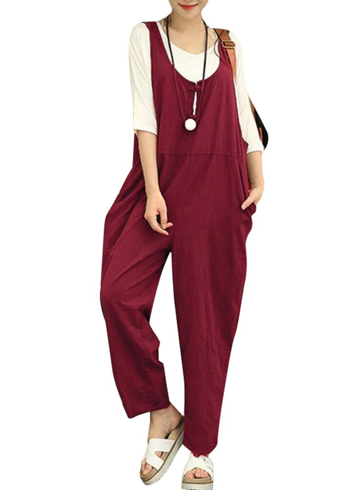 Romacci Women Summer Cotton Linen Baggy Overalls Jumpsuits Vintage Sleeveless Wide Leg Pants Rompers