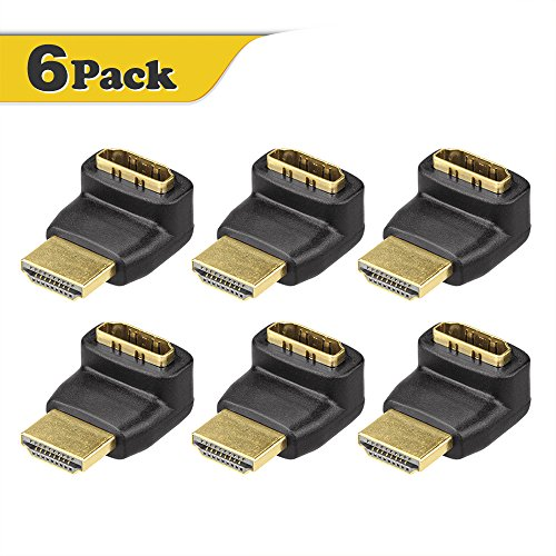 VCE 6-PACK 3D&4K Supported HDMI 270 Degree Male to Female Right Angle Adapter (Adapter 270 Hdmi Angle)