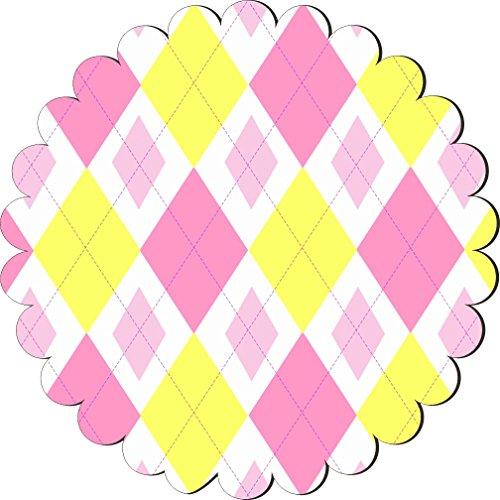 Rikki KnightTM Pink Yellow Argyle mini Pinks Design Scallop Flower Scallop Shape Fridge Magnet