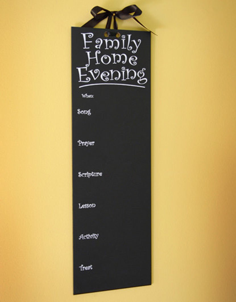 Maskery & Lund Family Home Evening Chalkboard Chart Board with Hanging Ribbon (LDS, MORMON, FHE)