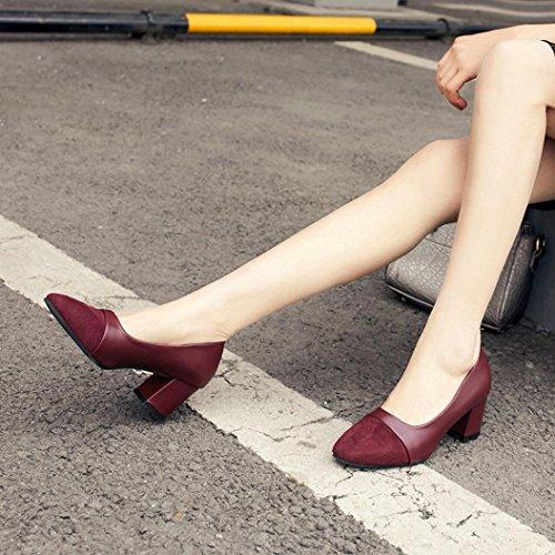 TPulling Herbst Und Winter Frühling Modelle Schuhe Mode Damen Frühlingsschuhe Mit Dicken Schuhen, Flache Mundarbeitsschuhe Wärme Outdoor Booties Ankle Lässige Schuhe Martin Stiefe Wein
