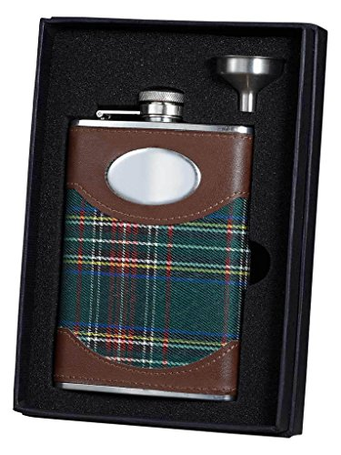 - Visol Holiday Essential II Macalister Scottish Plaid Liquor Flask Gift Set, 8 oz, Silver