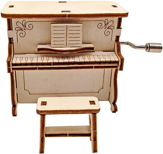 LOL lo Caja de música de Madera montada con manivela, Piano ...