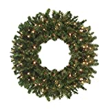 Darice Commercial 8' Pre-Lit Canadian Pine Artificial Christmas Wreath - Clear Lights