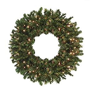 darice 24 pre lit canadian pine artificial christmas wreath clear lights - Christmas Wreaths With Lights