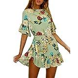 Outsta Fashion Women Spaghetti Strap Floral Print Beach Style Skater A Line Mini Dress High Waist Dress (Green, S)