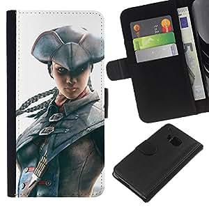 KLONGSHOP // Tirón de la caja Cartera de cuero con ranuras para tarjetas - Pirata Assassin - HTC One M9 //