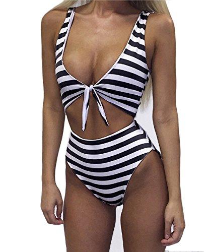 Mujeres Push Up Bañador Rayas Impresión IHRKleid® Mujeres Trajes Vendaje Cruzar Bandeau Bikinis Ropa de baño Negro 2